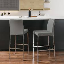 Grey Leather Bar Stool American Heritage Worthington 34 In Coastal Gray Cushioned Bar