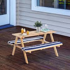 qaba kids wooden picnic table bench set outdoor play table