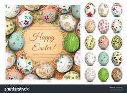 Wooden Table Background Vector Easter Eggs On Wooden Table Vector Stock Vector 259309430