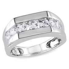 band ring miadora sterling silver channel set created white sapphire men s