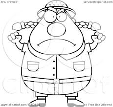 cartoon clipart of a black and white plump female safari ranger