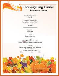 thanksgiving menu template apa exles