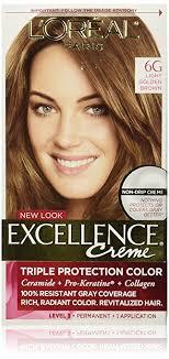 light golden brown hair color amazon com l oréal paris excellence créme permanent hair color 6g
