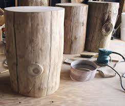 Outdoor Side Table Ideas by Reclaimed Wood Stump Table Potterybarn New Home Ideas 6