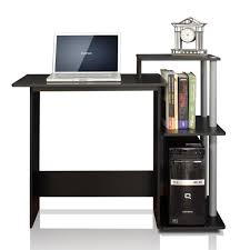 Computer Table Furinno Efficient Black And Grey Home Computer Desk With Shelves