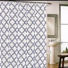 Cynthia Rowley Bathroom Cynthia Rowley Moroccan Tile Quatrefoil Navy Blue On White Fabric