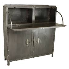 French Industrial Desk French Industrial Steel Drop Front Desk Bar Cabinet At 1stdibs