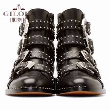 womens boots fashion footwear genuine leather boots ankle motorcycle rivets boots