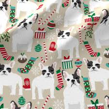 french bulldogs christmas fabric cute frenchie dog dogs xmas