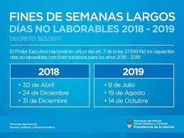 Calendario 2018 Argentina Ministerio Interior Se Definió El Calendario De Fines De Semana Largos Para 2018 Y