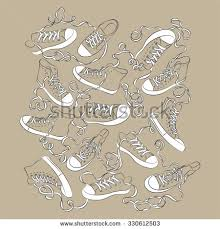 sketch sport shoes sneakers icons different stock vector 338759006