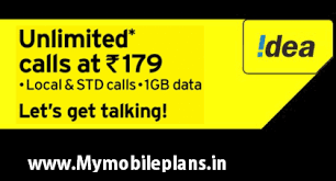 idea plans idea 179 plan unlimited local std calls 1 gb data for 28 days