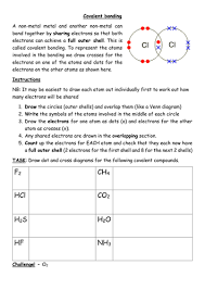 drawing dot and cross covalent bonding diagrams docx worksheets