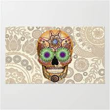 Paisley Area Rugs Sugar Skull Artisan Day Of The Dead Paisley Area Rug Sugar Skull