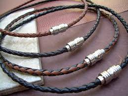 leather necklace with beads images Mens braided leather necklace with stainless steel magnetic clasp jpg