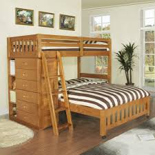 bedroom dark brown stained teak wood loft bed with drawers and