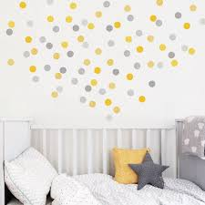 kids wall stickers nursery wall decals koko kids yellow grey polka dots