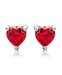 byjoy jewellery byjoy 925 heart shaped ruby stud earrings jewellery