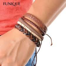 braided leather bracelet with charms images 1 set 3 4 pcs leather bracelet men multi layer bead bracelet jpeg