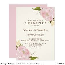 Invitation Cards Birthday Party Vintage Watercolor Pink Peonies Birthday Party Card Birthdays