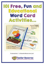words cards 101 and educational vocabulary word card activities