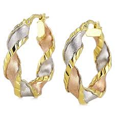 9ct gold earrings 9ct gold 3 colour twist hoop creole earrings page 1 qvc uk