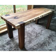 handmade hickory slab and walnut bench milling bench and