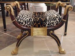 Leather Animal Ottoman by Living Room Classic Design Furniture With Leopard Print Ottoman