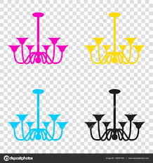 Chandelier Sign Chandelier Simple Sign Cmyk Icons On Transparent Background Cy