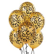 cheetah print party supplies gold black leopard print pack of 6 party balloons