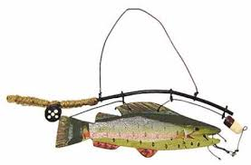 wooden fish with fishing pole wood ornament signs ornaments