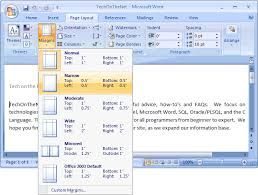 ms word 2007 change the page margins