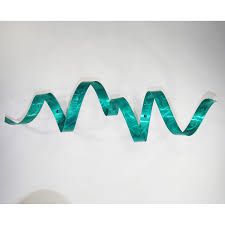 Modern Wall Art Teal Metal Wall Twist Sculpture Abstract Modern Wall Art Decor