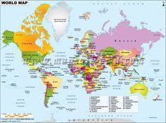world physical map mountain ranges deserts etc click on each