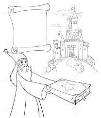 Assistant De Coloriage Avec Livre Magique Château Et Parchemin Clip