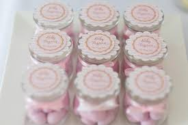 Pink and Gold Butterfly Baby Shower favors candy in jar Baby