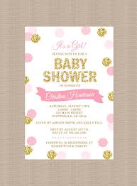 pink and gold baby shower invitations polka dot baby shower invitation pink gold glitter by honeyprint