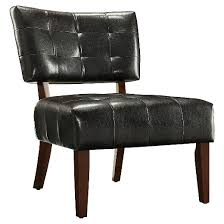 Faux Leather Accent Chair Elizabeth Armless Faux Leather Accent Chair Brown Inspire