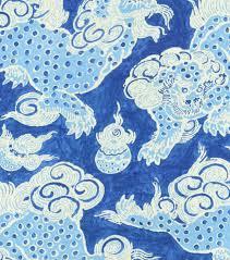 Paisley Home Decor Fabric by Waverly Williamsburg Dunmore Dragons Sapphire 1502 Fabrics
