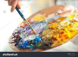 artist brush mix color oil painting stock photo 132622631