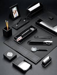black croco leather desk blotter and accessories set