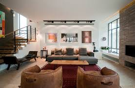 track lighting in living room scandinavian style with black track lighting and brick wall accents