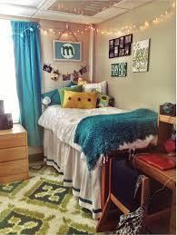 College Rug Blue Green Yellow Dorm Patterned Rug White Comforter Dorm
