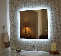 illuminated mirror large square mirror with white woden frame tan