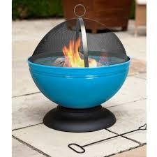 Fire Pit Globe by La Hacienda Globe Fire Pit Blue Enamelled Steel