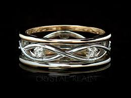rings bands images Celtic infinite weave band 14k white yellow gold with diamonds jpg