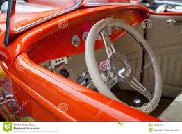 Steering Wheel Upholstery Shiny Bright Orange Vintage Sportscar Stock Images Image 32475424