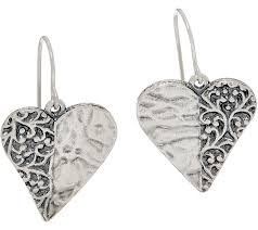heart shaped earrings or paz sterling silver heart shaped dangle earrings qvc