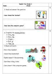 worksheet grade 2 test