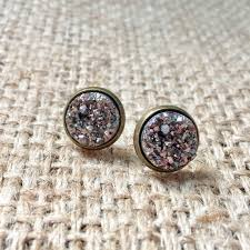 druzy stud earrings gunmetal druzy studs faux druzy earrings metallic druzy studs